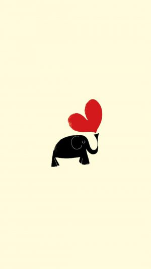 Cute Little Dark Elephant Red Love Heart Drawn Art iPhone 7 wallpaper