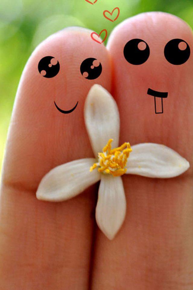 Cute Love Cartoon Couple Iphone 7 Wallpaper