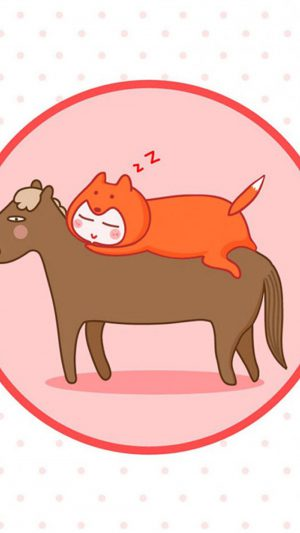 Funny Cat and Horse Sleeping iPhone 7 wallpaper
