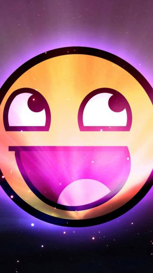 Funny Emoticon Space Purple iPhone 7 wallpaper