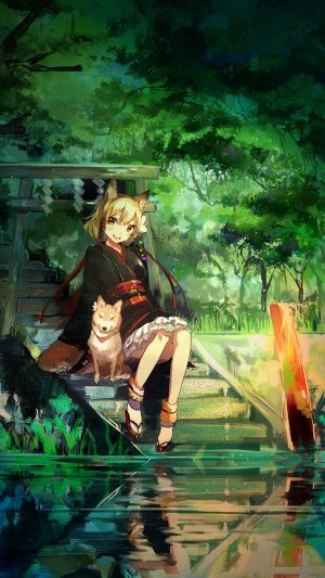 Girl And Dog Green Nature Anime Art iPhone 7 wallpaper