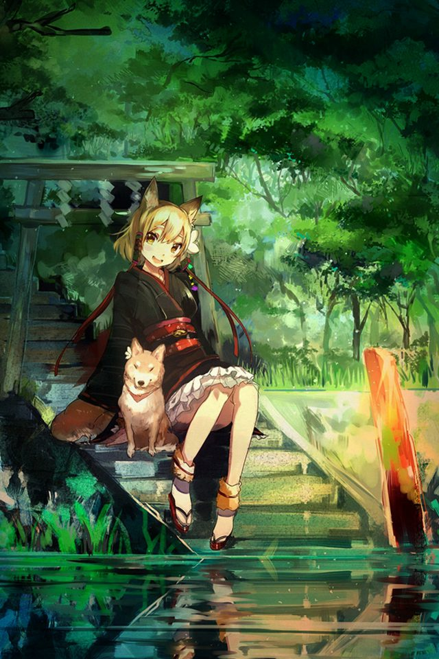 Girl And Dog Green Nature Anime Art iPhone wallpaper
