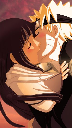 Naruto Uzumaki Naruto Hyuuga Hinata Girl Boy Kiss iPhone 7 wallpaper