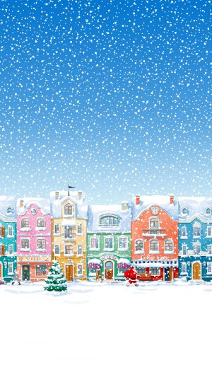Snowy Town Santa Claus Delivering Christmas Presents iPhone 7 wallpaper
