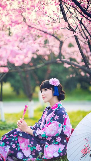 Japanese Girl Kimono iPhone 7 wallpaper