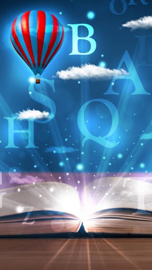Open book with glowing fantasy abstract clouds and balloons iPhone 7 wallpaper