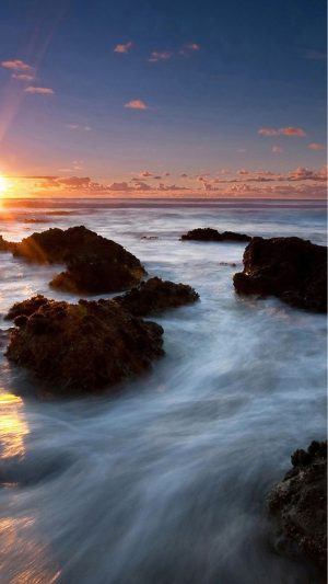 Beach Sunset Sea Long Exposure iPhone 7 wallpaper