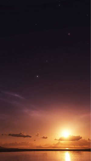 Sunset on Beach with Space iPhone 7 wallpaper