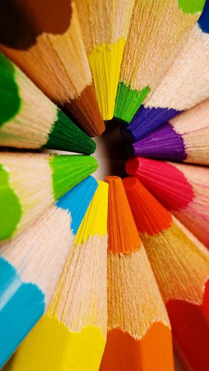 Colorful pencils-closeup iPhone 7 wallpaper