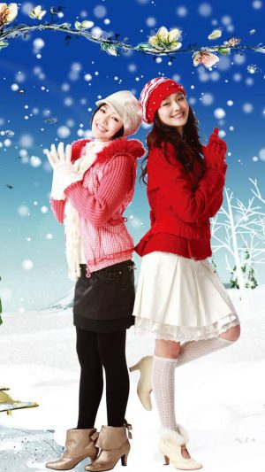 Christmas Girls iPhone 7 wallpaper