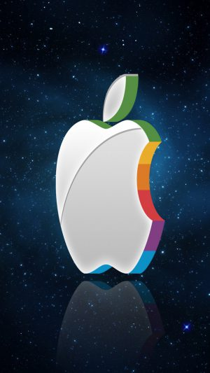 3D Apple Logo In Space iPhone 7 wallpaper