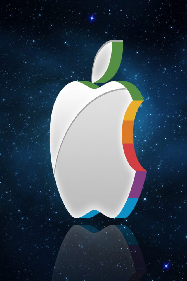 3D Apple Logo In Space iPhone wallpaper