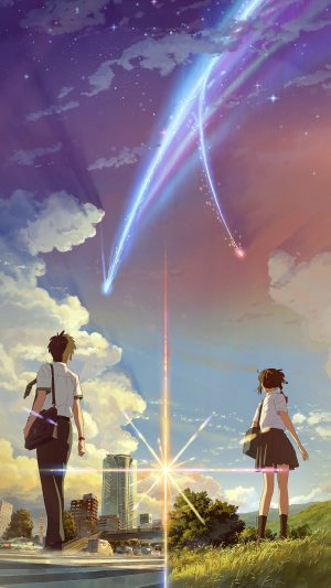 Kimi no Na wa Art Flames iPhone 7 wallpaper