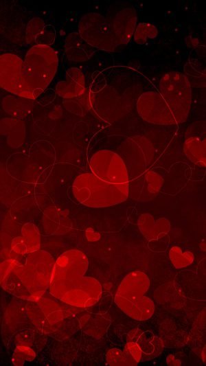 Red Hearts Art Valentine iPhone 7 wallpaper