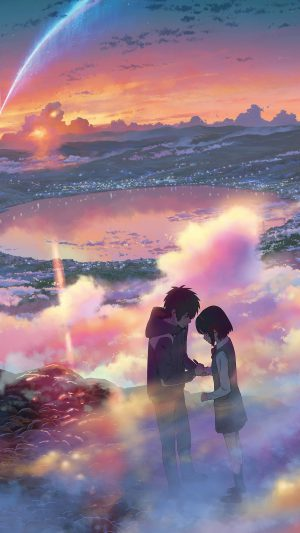 YourName Anime Art Night Cute Kimi no Na wa iPhone 7 wallpaper