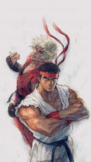 Anime Street Fighters Ryu Ken Art Illust iPhone 7 wallpaper