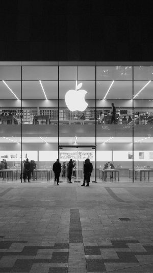 Apple Store Front Bw Dark Architecture City iPhone 7 wallpaper