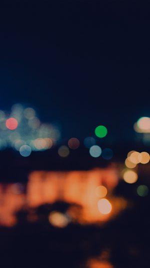 Bokeh City Night Light Art Blue Pattern Dark iPhone 7 wallpaper