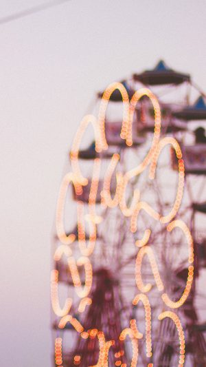 Bokeh Ferris Wheel Romantic Red iPhone 7 wallpaper