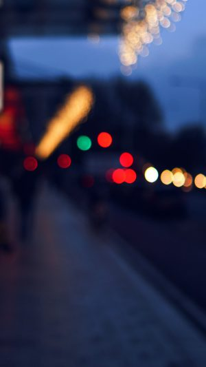 Bokeh Street Lights City Art Blue iPhone 7 wallpaper
