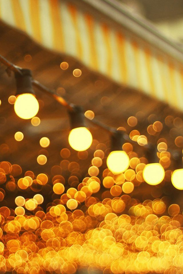 City Light Bulbs Romantic Street iPhone wallpaper