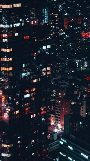 City Night Lights Building Pattern Red iPhone 7 wallpaper