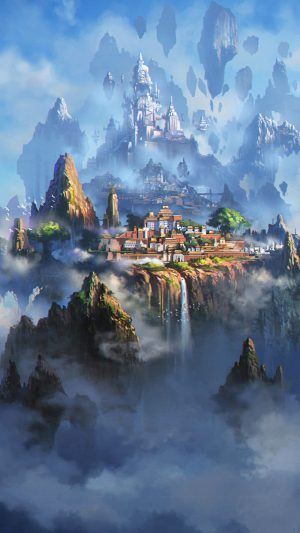 Cloud Town Fantasy Anime Liang Xing Illustration Art iPhone 7 wallpaper