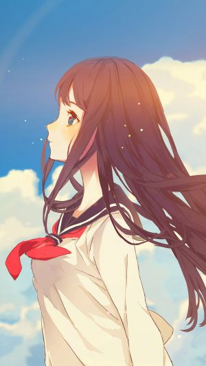 Cute Girl Illustration Anime Sky Flare iPhone 7 wallpaper