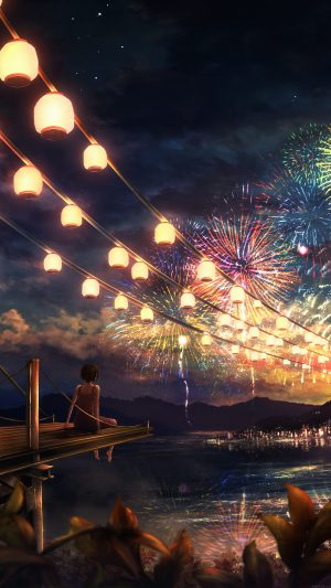 Firework Girl Dark Night Anime Art Illust iPhone 7 wallpaper