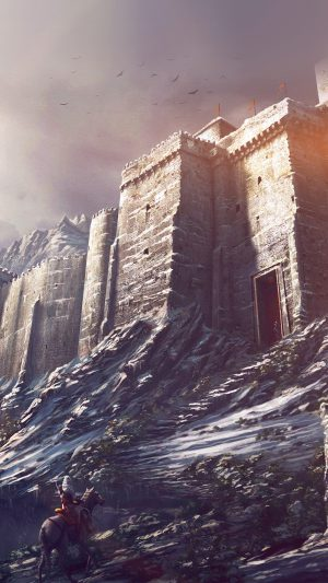 Game Illustration Castle Snow Winter Flare iPhone 7 wallpaper