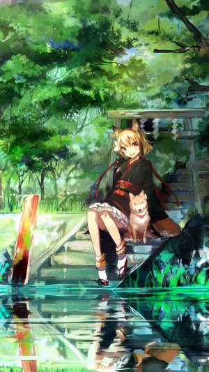 Girl And Dog Green Anime Art Illust iPhone 7 wallpaper