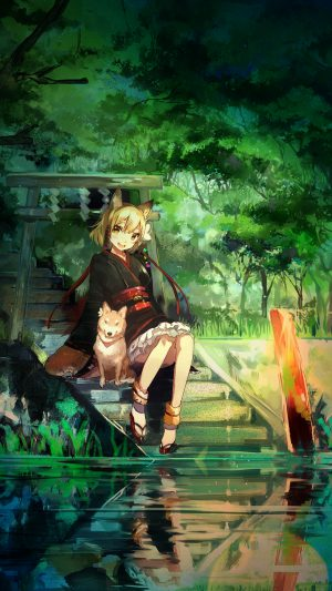 Girl And Dog Green Nature Anime Art Illust iPhone 7 wallpaper