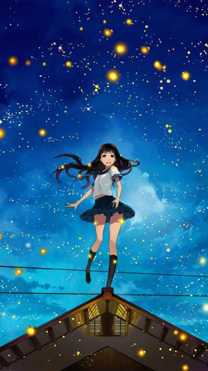 Girl Anime Star Space Night Illustration Art iPhone 7 wallpaper