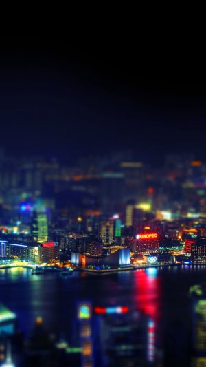 Hongkong Night Cityscapes Lights iPhone 7 wallpaper