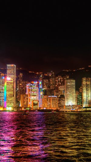 Hongkong Night Symposium Of Light iPhone 7 wallpaper
