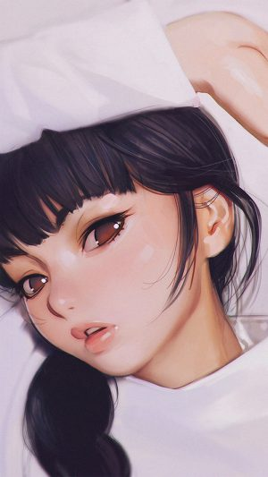Ilya Kuvshinov Anime Girl Shy Cute Illustration Art iPhone 7 wallpaper