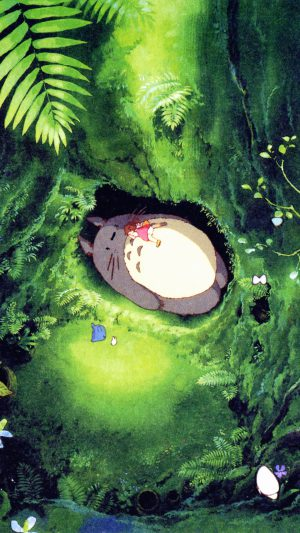 Japan Totoro Art Green Anime Illustration iPhone 7 wallpaper