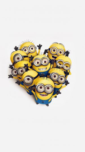 Minions Love Heart Cute Film Anime Art iPhone 7 wallpaper