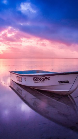 Nature Sea Beach Boat Alone Sunset Blue Pink iPhone 7 wallpaper
