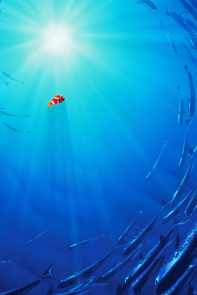 Nemo Disney Film Anime Sea Illustration Art Blue iPhone wallpaper