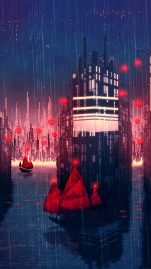 Rainy Anime City Art Illust iPhone 7 wallpaper