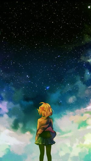 Starry Night Illust Anime Girl iPhone 7 wallpaper