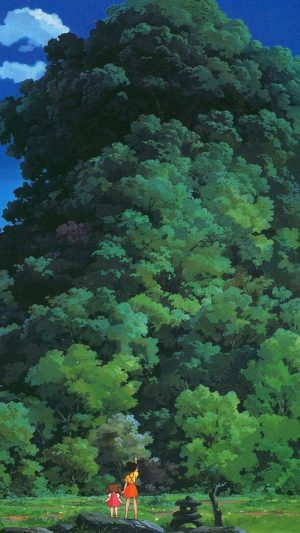 Studio Ghibli Tree Green Art Illustration Love Anime iPhone 7 wallpaper