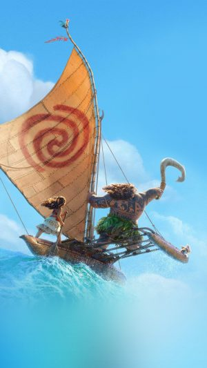 Surf Moana Disney Film Anime Summer Sea Illustration Art iPhone 7 wallpaper