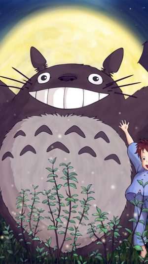 Totoro Forest Anime Cute Illustration Art Blue iPhone 7 wallpaper