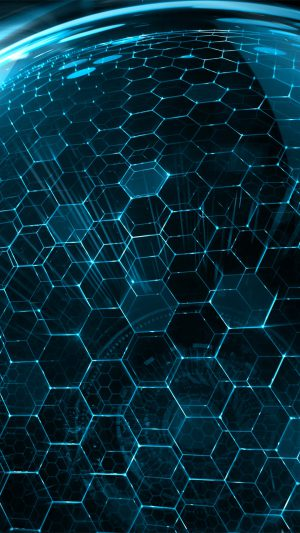 3D World Hexagon Art Blue iPhone 7 wallpaper