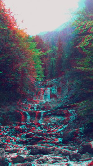 Anaglyph Mountain Green Nature Art iPhone 7 wallpaper