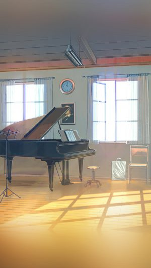 Arseniy Chebynkin Music Room Piano Illustration Art iPhone 7 wallpaper