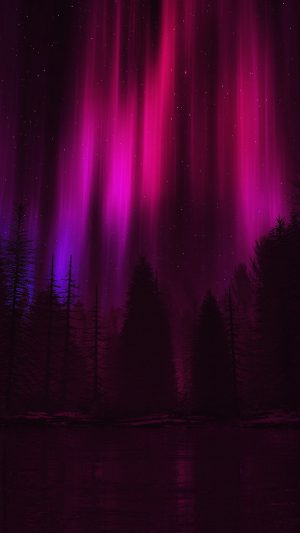 Aurora Night Sky Dark Red Nature Art iPhone 7 wallpaper