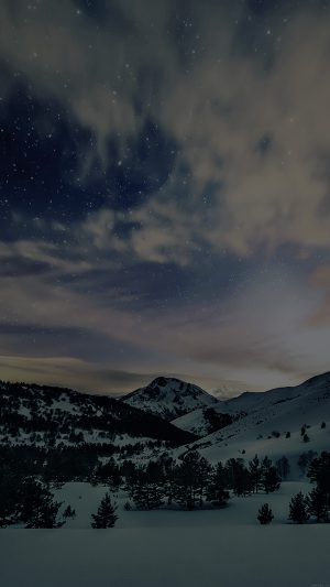 Aurora Star Sky Snow Dark Night Mountain Winter Nature iPhone 7 wallpaper